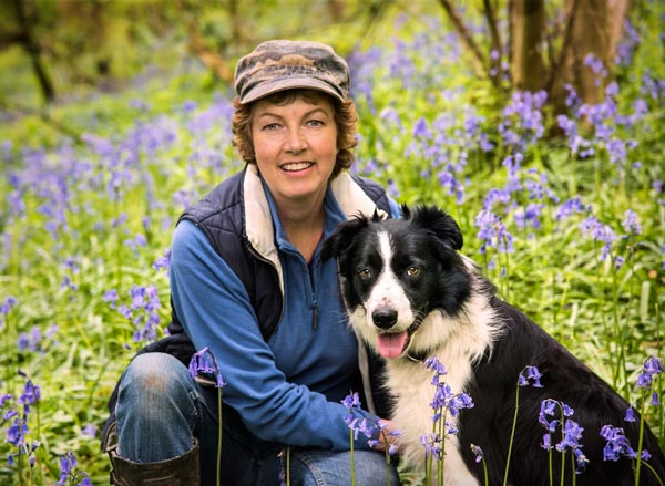 Anthea with West in a local bluebell wood